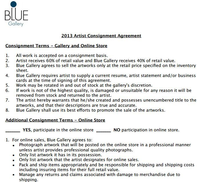 Artist Contract From Blue Gallery Which Is A Consignment Gallery