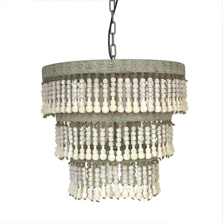 Corbin 3 Light Unique Statement Tiered Chandelier With Wood Accents Wood Bead Chandelier Metal Chandelier Wood Pendant Lamps