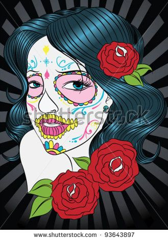Woman as sugar with roses