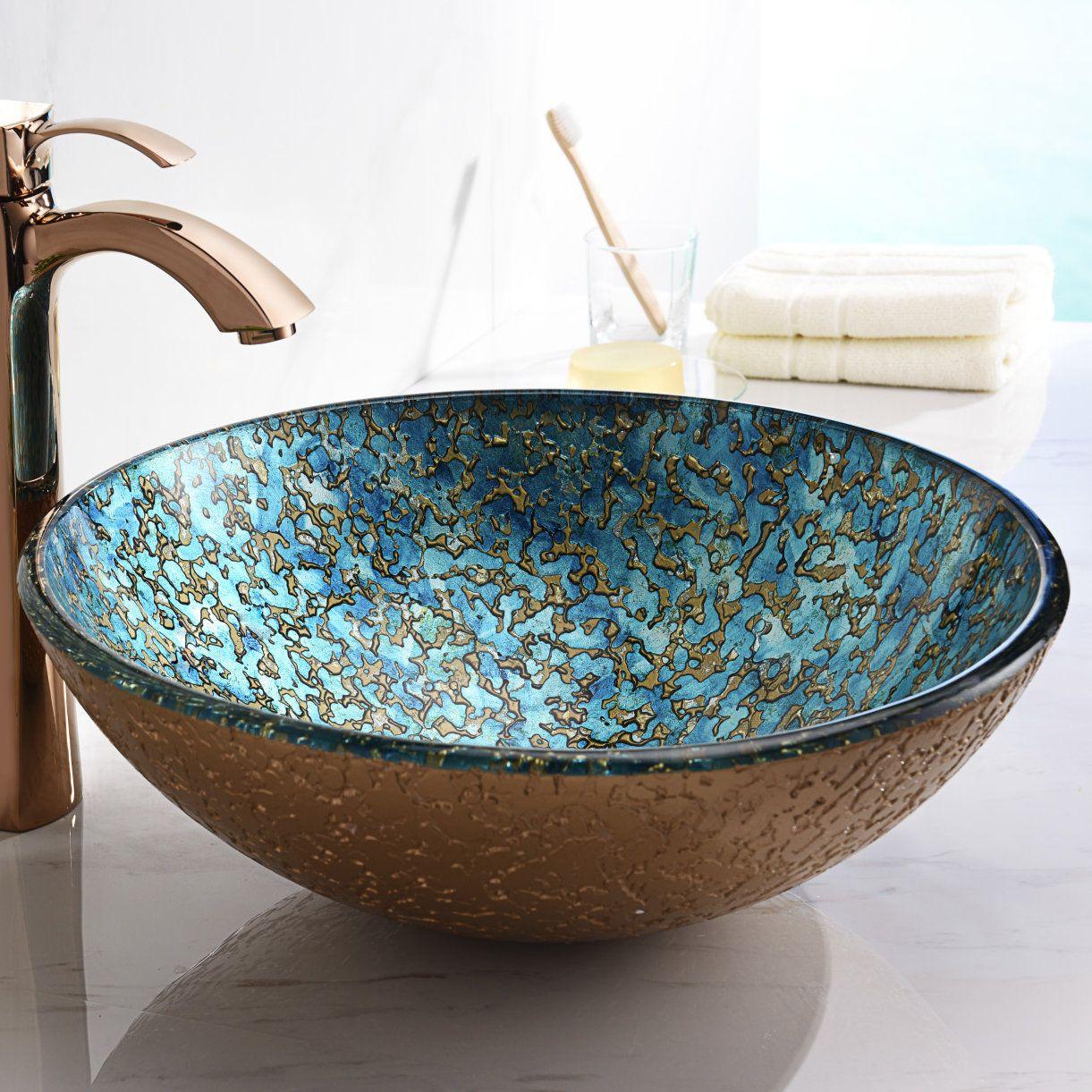 Vigo Mediterranean Blue Seashell Glass Vessel Bathroom Sink In