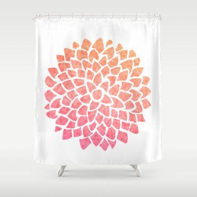 Coral Sea Glass Dahlia Shower Curtain Trendy Bathroom Bathroom