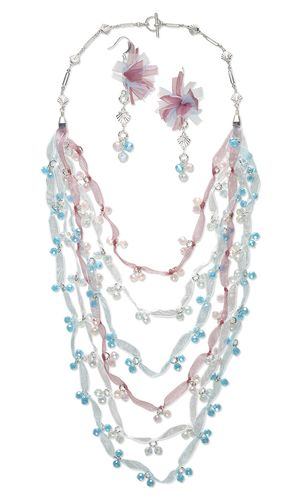 Bib-Style Necklace and Earring Set with Celestial Crystal® Beads, Organza Ribbon and Silver-Plated Brass Chain