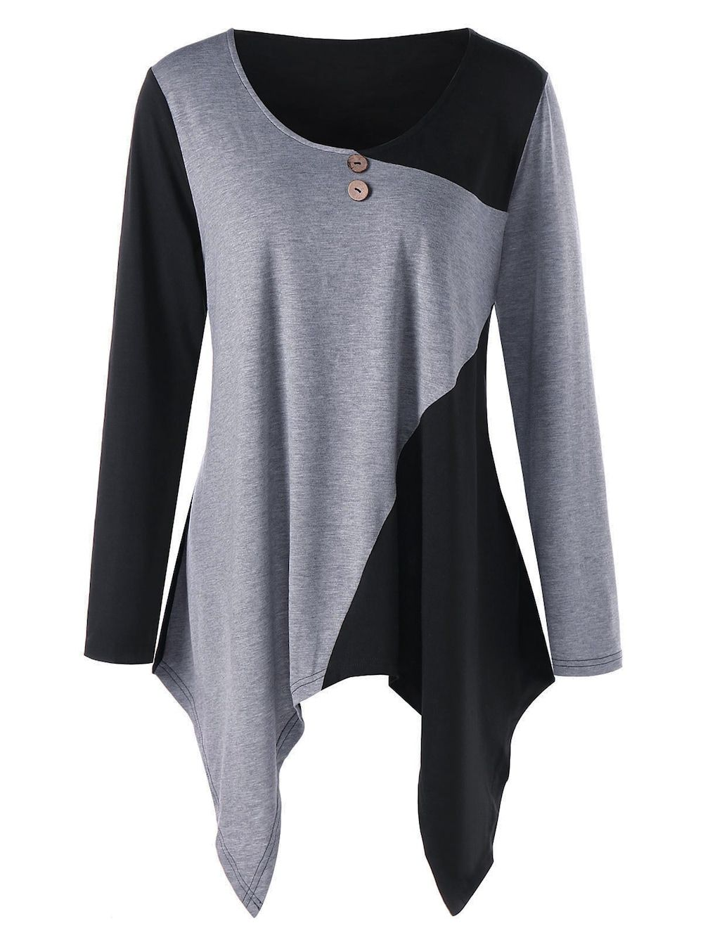 6fe465e8054 Plus Size Asymmetric Color Block Tunic Top - BLACK/GREY 4XL ...
