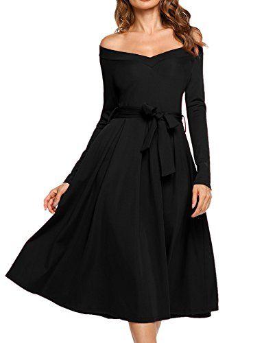 ed895c85778 ACEVOG Women s Vintage V Neck Off Shoulder Long Sleeve Swing Long Midi Dress  with Belt