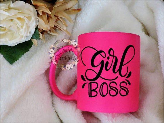 Girl Boss coffee mug//Neon pink mug//not vinyl//matte pink mug//coffee gift//gifts for her// #bosscoffee