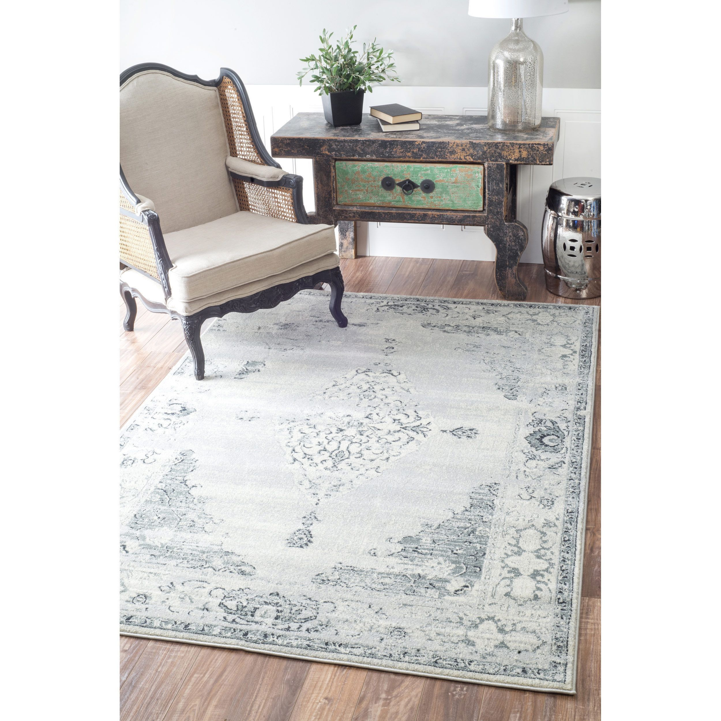 Nuloom Traditional Vintage Abstract Light Grey Rug 5 3 X 7