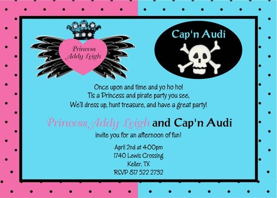 Brother Pirate and Sister Princess Birthday Party Invitation – Princess and Pirates Party Invitations