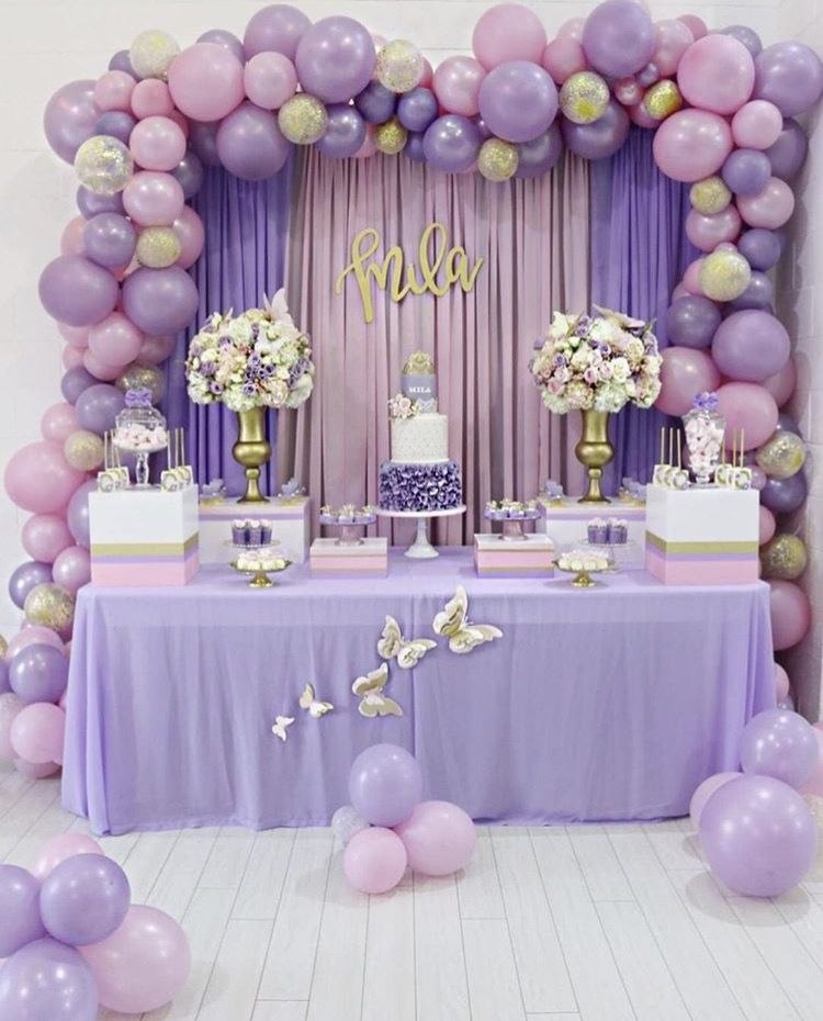 Pink Lilac Party Ideas Pink And Lilac Balloon Decor Girl