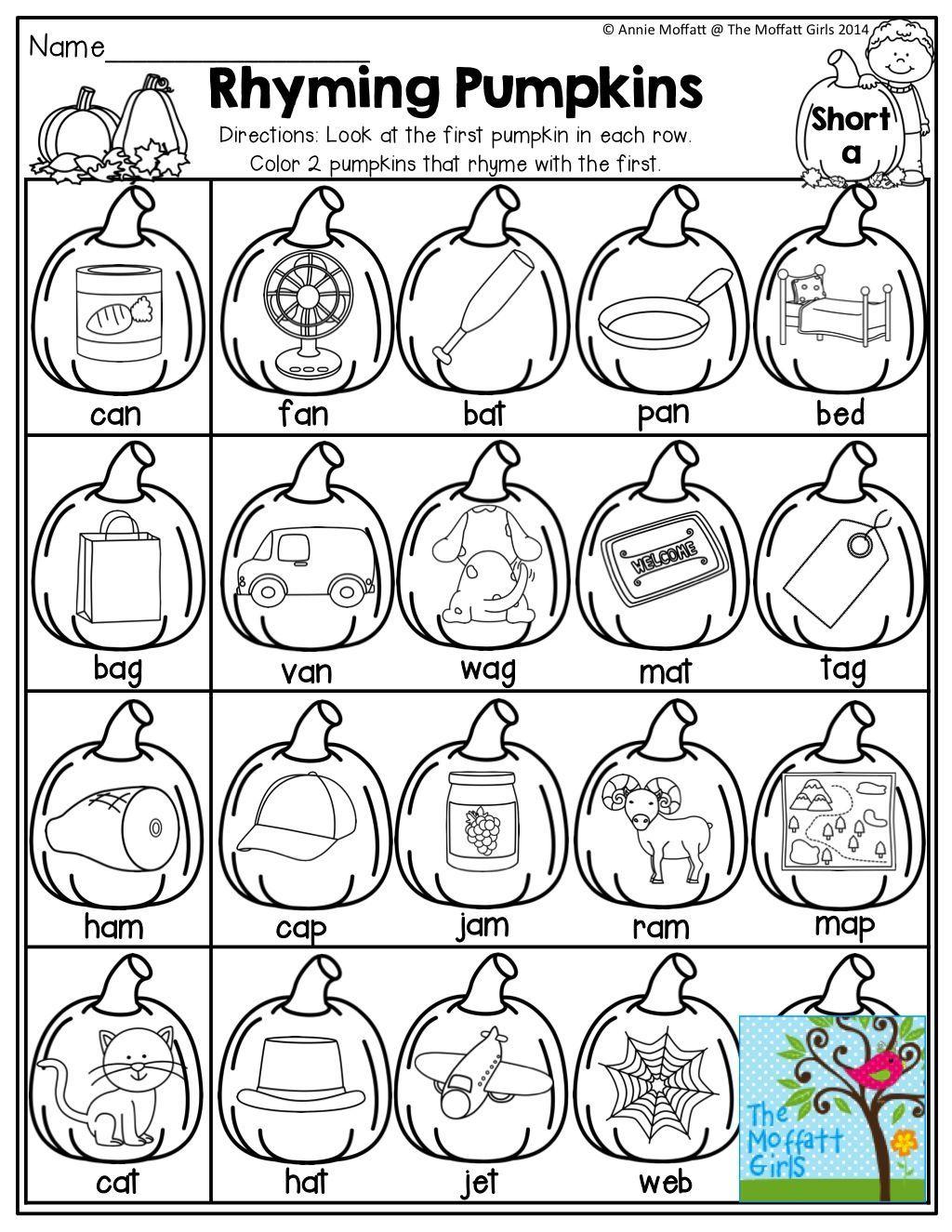 Pumpkins That Rhyme K Phonics Kindergarten