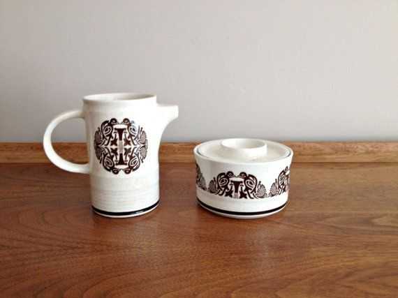 Tree of Life Cream and Sugar Arklow Pottery by vintage19something