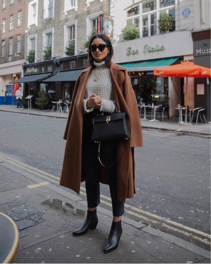 # manteau de laine # manteau marron # col roulé # pull en tricot # mymädchenflohmarkt