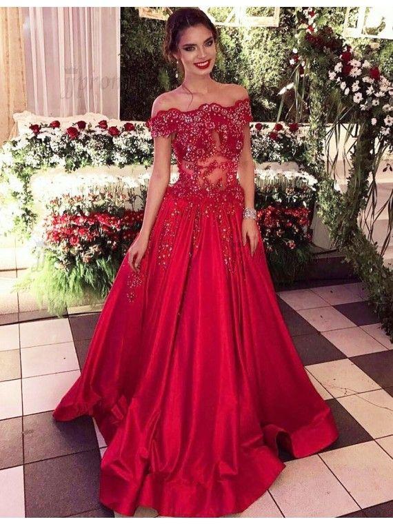 elegant prom dresses, off shoulder prom dresses, red prom dresses ...