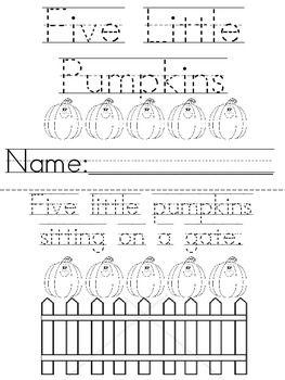 Great Five Little Pumpkins Printable Book Five Little Pumpkins