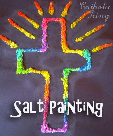 Make this easy cross craft with kids. Salt painting is so much fun!