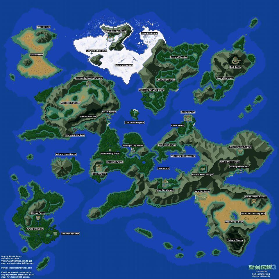 Secret of Mana 2 Map   JRPGs   Secret of mana, Map, Super ...