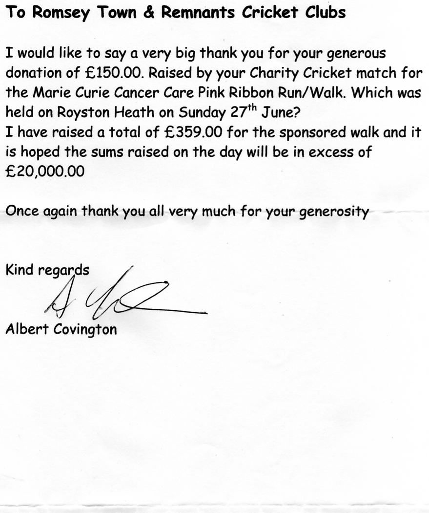 Romsey town cricket club received the following nice thank you romsey town cricket club received the following nice thank you letters from both organisations negle Images