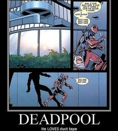 <<<<Follow for more #geektent all day everyday! Quick fact... You guys know Deadpool #love s duct tap right? He even loves the way it sounds... #Deadpool #deadpoolmovie #deadpoolfact #wadewilson #mercwithamouth #funny #lol #hahaha #heh #hehe #haha #lmao #lmaobruh #lmfao #marvel #marvelcomics #marveluniverse #geek #geeky #nerdyfact #nerdygirl #nerd #nerdy