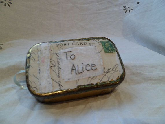 Vintage Tin  Art Assemblage  An Invite for Alice di MesssieJessie, £28.50