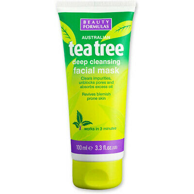 Photo of NEW BEAUTY FORMULAS X 2 TUBES TEA TREE DEEP CLEANSING FACIAL MASK 100ML  5012251010429 | eBay