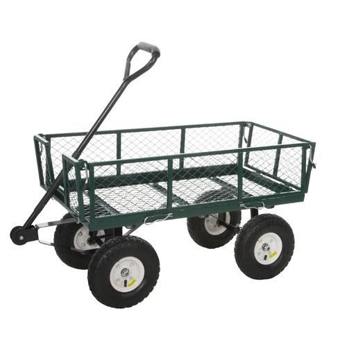 Outdoor Steel Heavy Duty Utility Cart With Folding Sides And