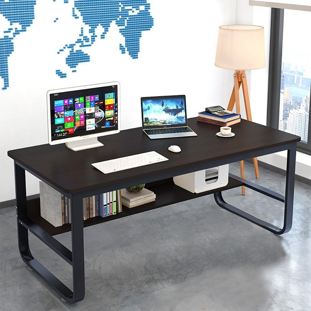 Simple Modern Style Computer Writing Desk With Bookshelf For Home