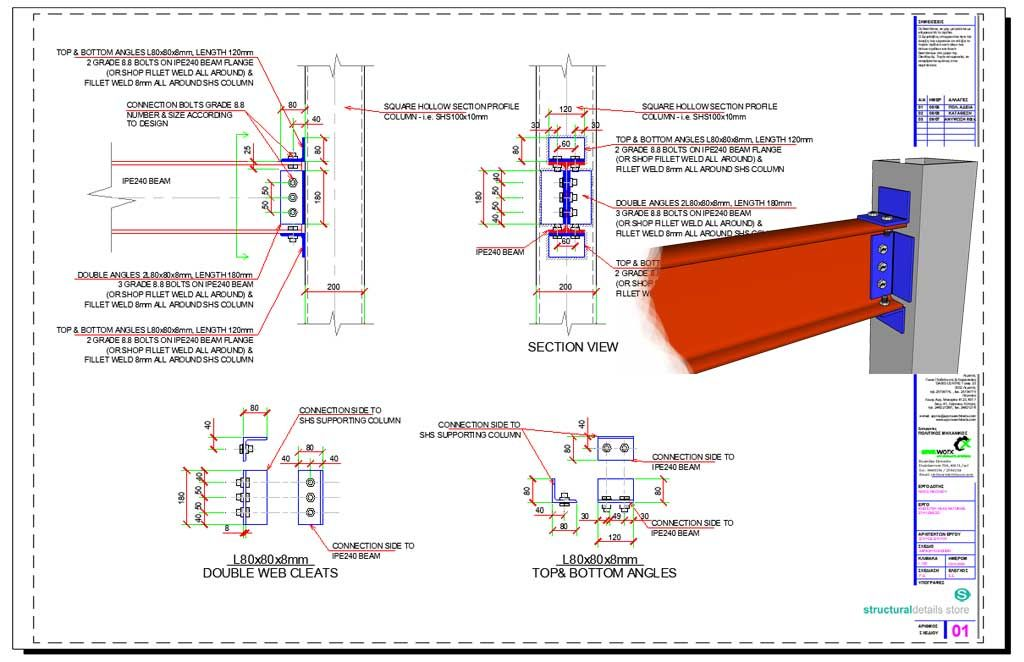 Steel Beam Angles Moment Connection To Shs Column Detail Steel Beams Beams Steel