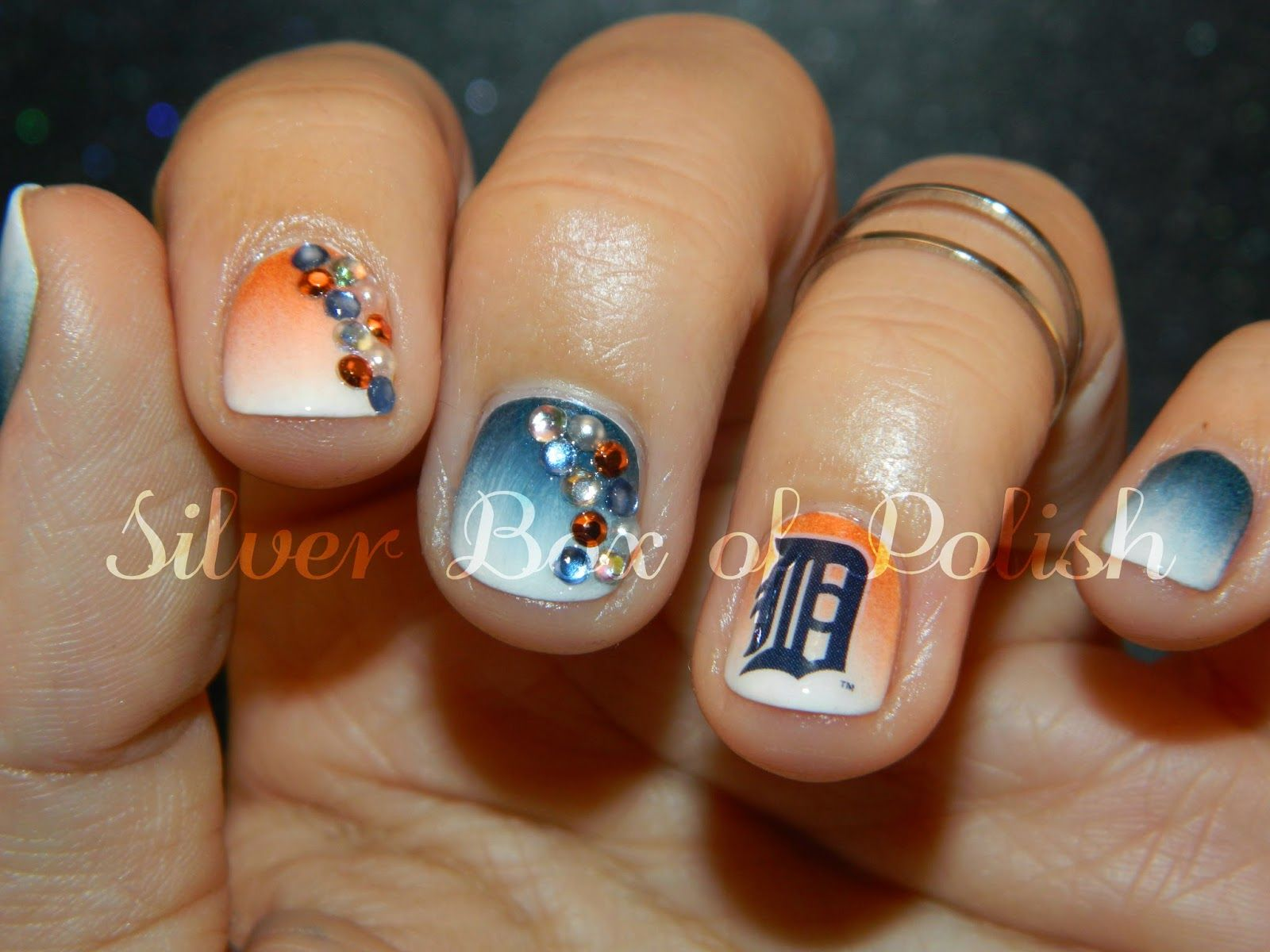 My Detroit Tigers Nails   Silver Box of Polish   Pinterest   Tiger ...