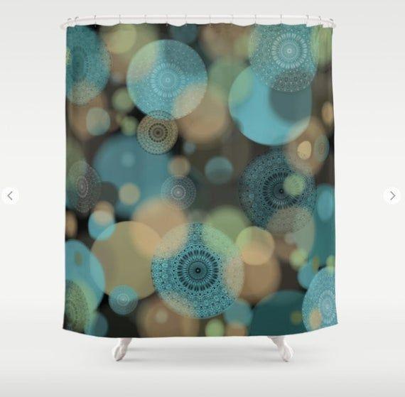 Abstract Mandala and Circles Shower Curtain, Taupe Teal Black Modern Bathroom Decor, Bathmat and Matching Shower Curtain FREE SHIPPING USA!,  #abstract #BathMat #Bathroom #Black #Circles #curtain #Decor #diybathroomdecorshowercurtains #Free #Mandala #matching #Modern #Shipping #Shower #Taupe #Teal #USA