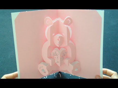 teddy bear pop up card template free - how to make a valentine teddy bear pop up card free