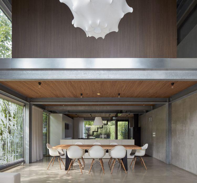 minimalistische einrichtung beton holz designleuchte küche ...