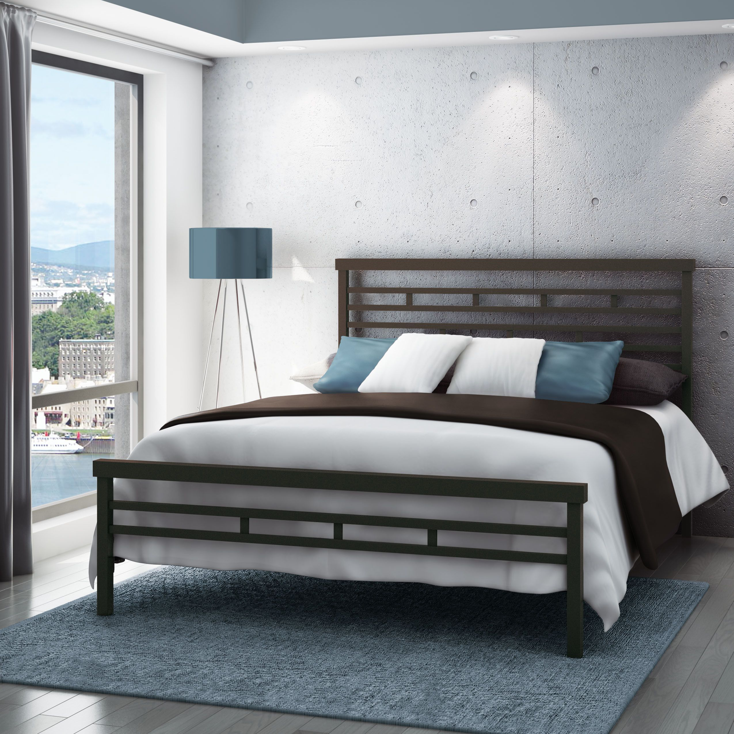 Amisco 60-inch Highway Queen Size Metal Bed (Queen Size in Glossy ...