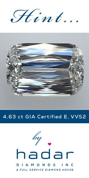 VVS2 diamonds by HadarDiamonds.com . 4.63 carat Round Cornered Rectangular Modified Brilliant.  Top-tier E color, VVS2 clarity.  Actual photo.  Video available upon request.