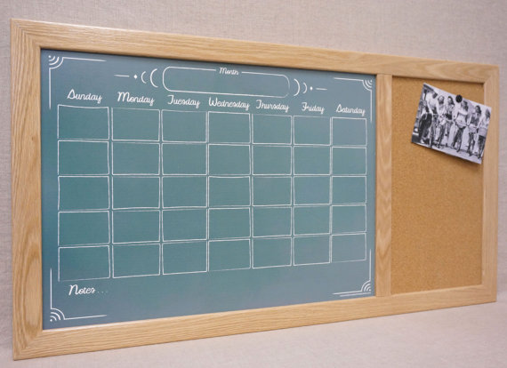 "Tailor Made Whiteboards Custom Framed Command Center - Green ""Chalkboard"" Calendar Dry Erase Board & Cork Bulletin Board - Large Wall Calendar Planner Organizer"
