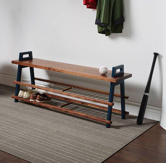 48″ entryway/hallway storage bench in walnut with shoe rack
