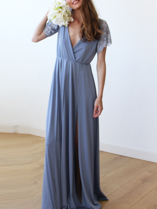 Dusty Blue Wrap Maxi Dress With Short Lace Sleeves For