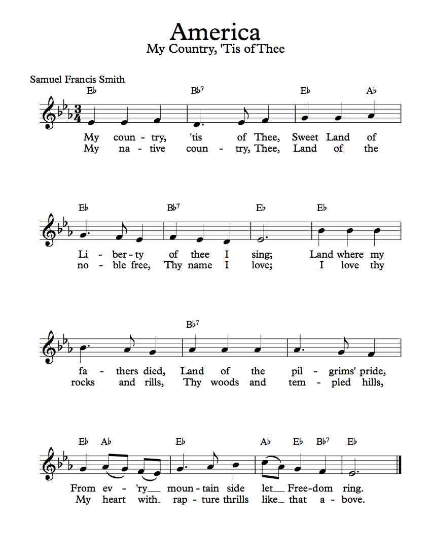 Free Sheet Music - Free Lead Sheet - America - My Country ...