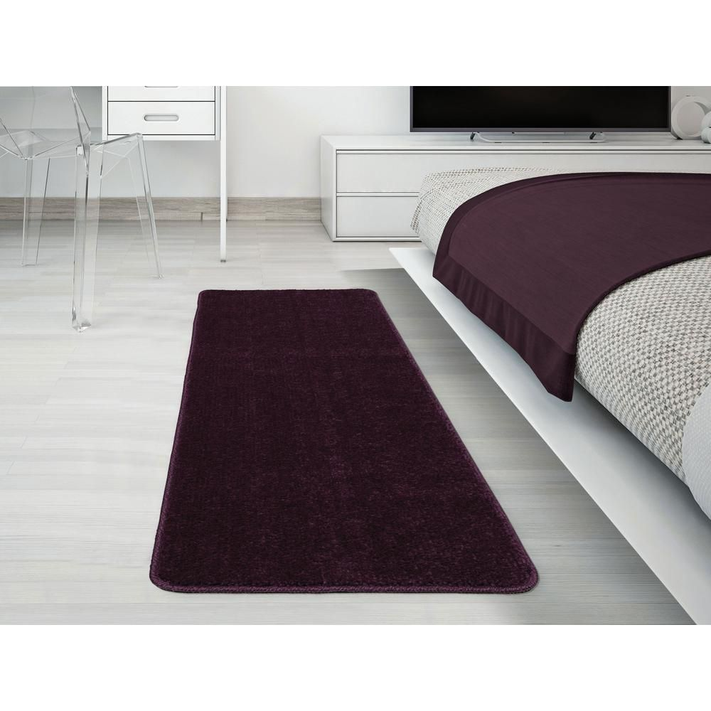 Ottomanson Solid Design Purple 1 Ft 8 In X 4 Ft 11 In Non Slip Bathroom Rug Runner Sft870019 20x59 Bathroom Runner Rug Rug Runner Rugs Mats