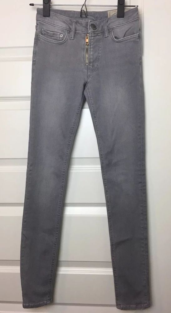 presenting detailed images lowest discount All Saints Womens Gray Track Low Rise Zip Skinny Fit Denim ...