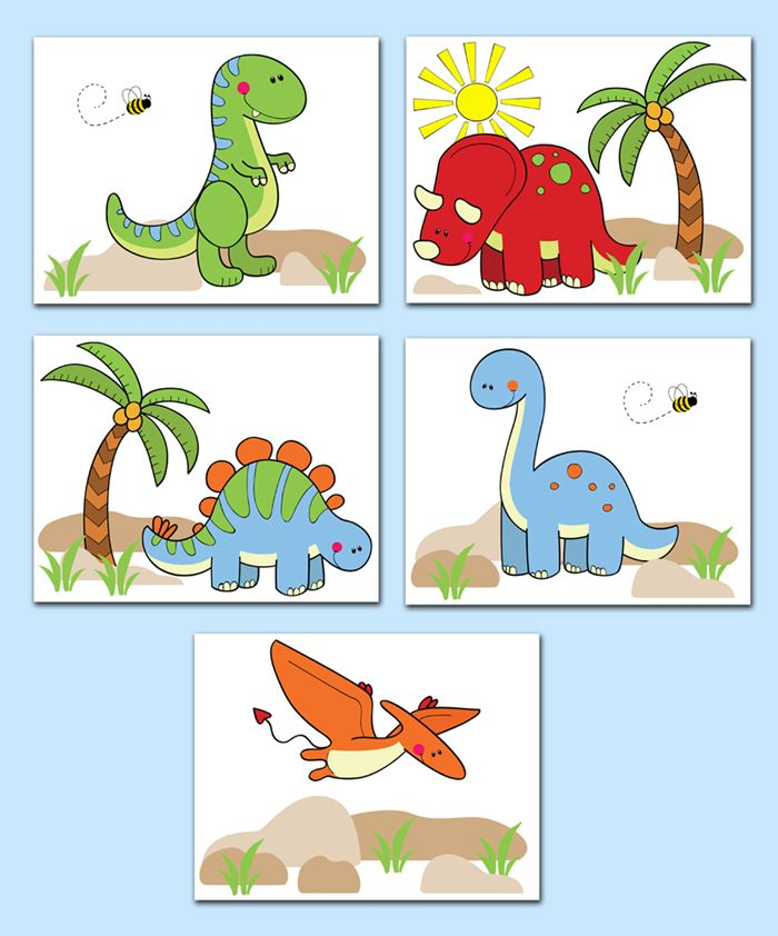 Dinosaur Wall Art Prints Or Decals For Baby Boy Or Girl Nursery And  Childrenu0027s Prehistoric Dino