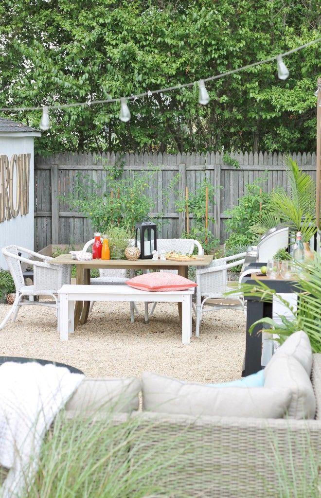 DIY Pea Gravel Patio, Backyard Reveal, Small Backyard Reveal, White Barn  Shed,