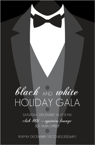 Formal Black Tie Holiday Party Invitation | Elegant Affair ...