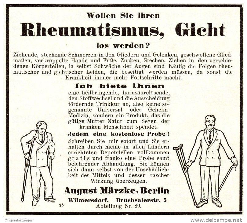 Original-Werbung/ Anzeige 1928 - RHEUMA / GICHT - AUGUST MÄRZKE - BERLIN - WILMERSDORF - ca. 125 x 110 mm