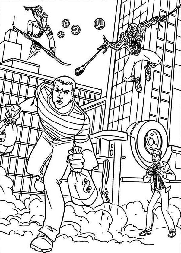 Spiderman And Green Goblin Pursue Bank Robber Coloring Page Coloring Sun Coloring Pages Spiderman Coloring Green Goblin