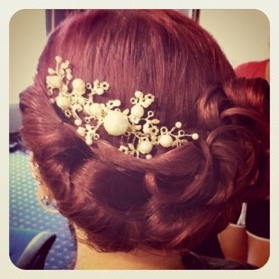 Love this hair color, accessory & updo. Perfect for any wedding!