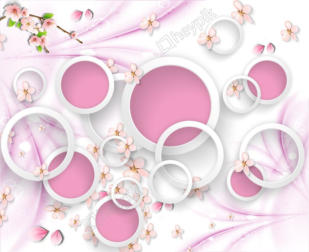 3d Circle Background Wall Pink Background Flower Iphone Wallpaper Background