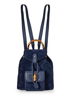 b9e58b55e9f4 Navy Suede Bamboo Backpack Small