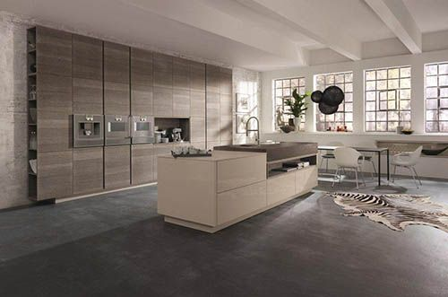 Alno Star Wood Kitchen In OakSmoke Grey And HighGloss Cashmere