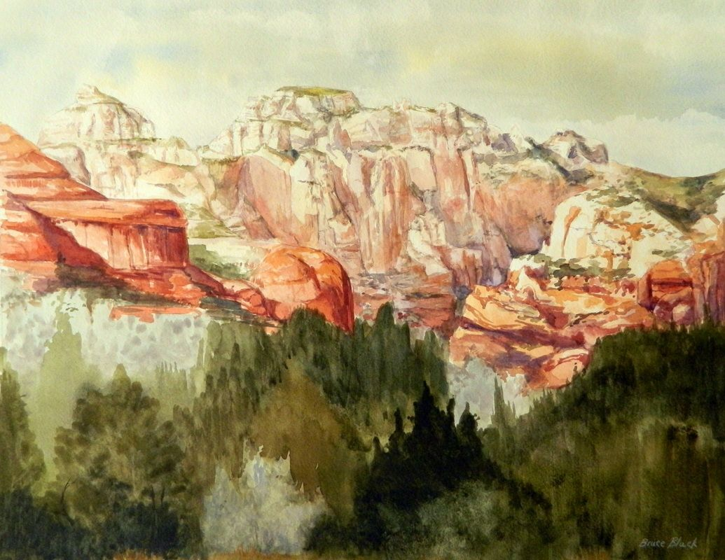 Connecticut watercolor artists directory - Sedona Watercolor Painting Landscape By Bruce Black This Painting Really Caught The Light Filtering Through