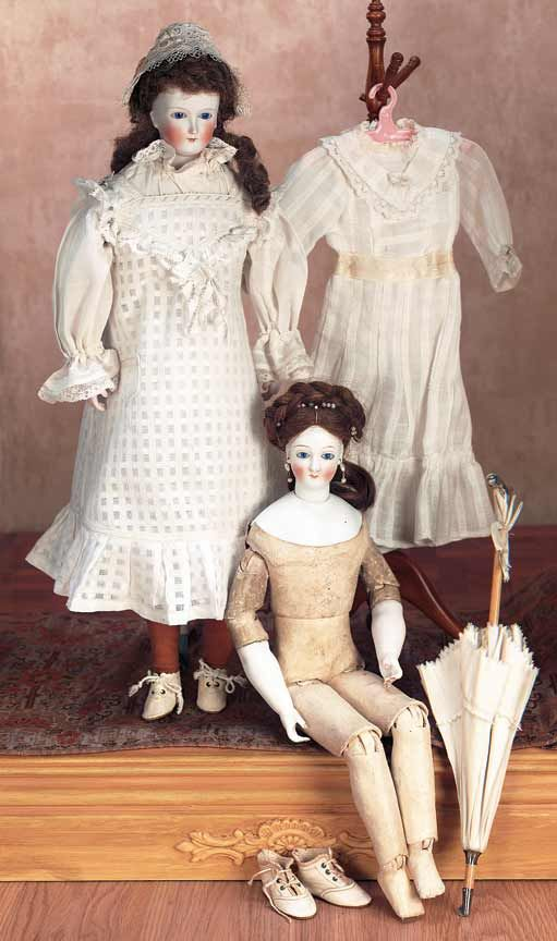 View Catalog Item - Theriault's Antique Doll Auctions - two german bisque lady fashion dolls, 19""