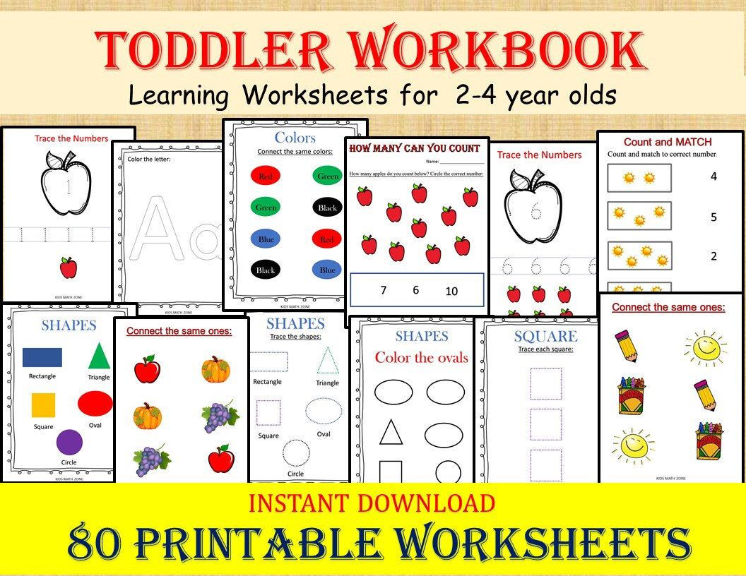 Toddler Workbook 80 Printable Worksheets Digital